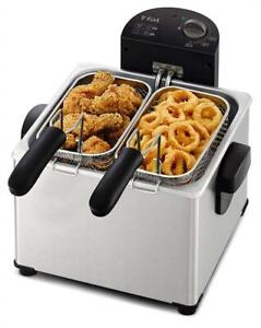 NEW T-fal FR3900 Triple Basket Deep Fryer with Stainless Steel Removable Pot and Professional Heating Element, 4-Lite...