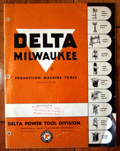 DELTA POWER TOOLS 1950 Catalog B-48 Rockwell Manufacturing Company Milwaukee
