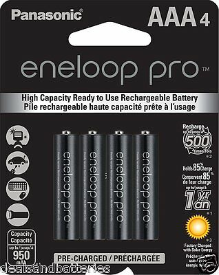 Newest Panasonic Eneloop Pro AAA NiMH 950mAh Rechageable Batteries 4 Pack