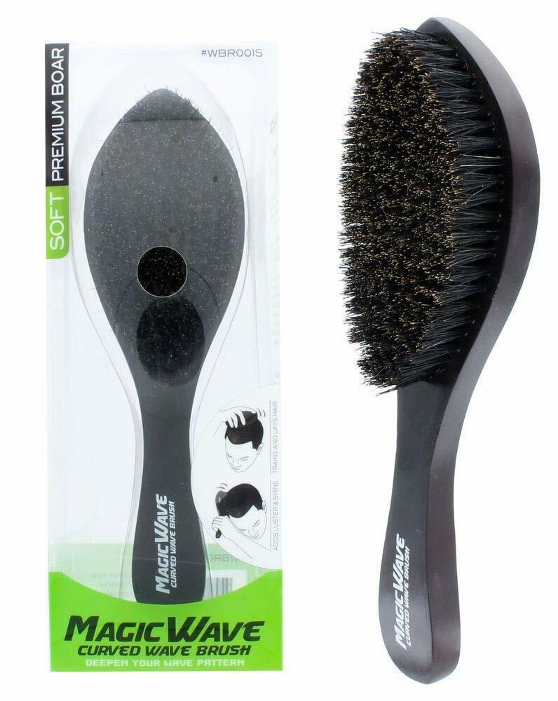 Black Ice Magic Wave Curved Wave Brush Soft Premium Boar