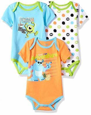 Disney Baby Boys Monsters Inc Three-Pack Bodysuits Size 12M