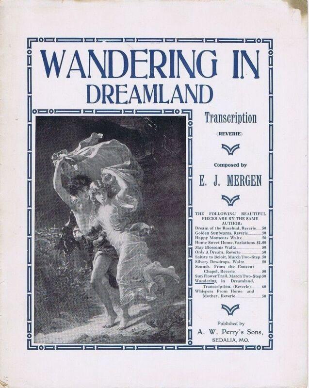 Wandering In Dreamland Transcription Reverie, 1911, vintage sheet music