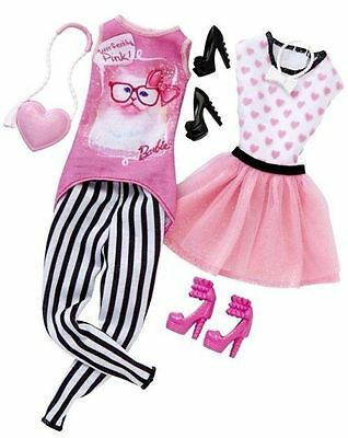Barbie Fashion Dress Day Looks Purrfectly Doll Clothing Set Striped Pink [J1]