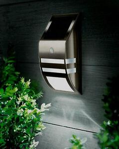 Motion Sensor Stainless Steel Wall White LED Light Outdoor Solar Powered Garden