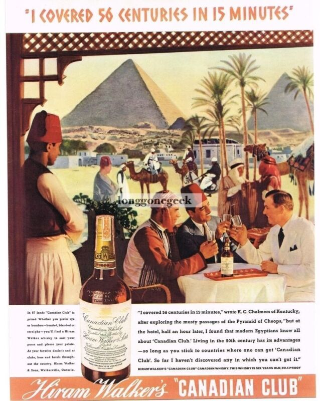 1937 Hiram Walker CANADIAN CLUB Whiskey Egyptian Cafe Pyramids art Vintage Ad