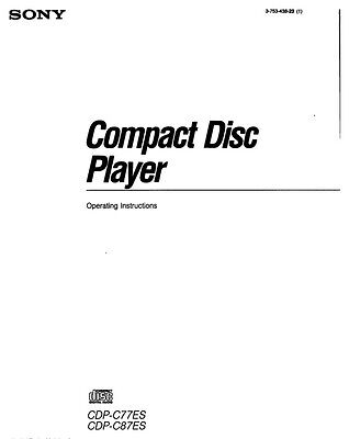 Sony CDP-C77ES CD Player Owners Manual