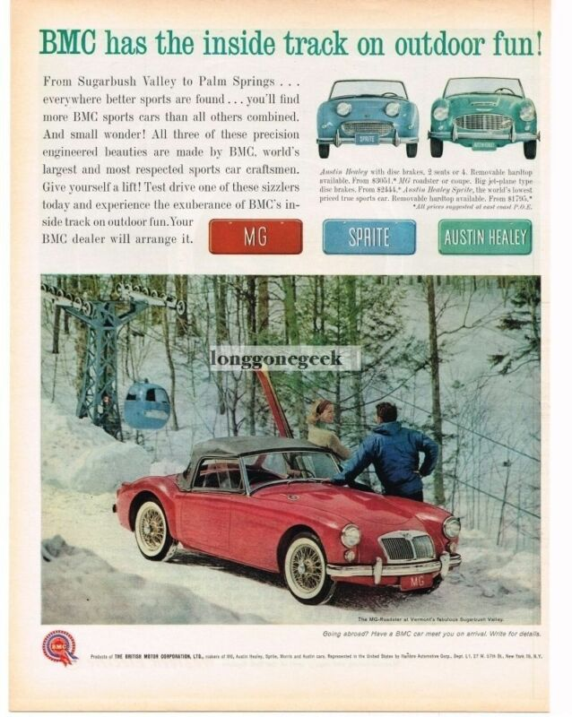 1961 BMC MG Red Roadster Skiers Sugarbush Valley Vintage Ad