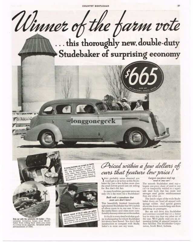 1936 Studebaker Car Winner Of The Farm Vote Vintage Print Ad