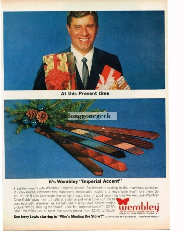 1963 Wembley Neck Ties Imperial Accent Jerry Lewis Christmas Vintage Ad