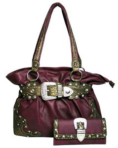 western bling rhinestone buckle front handbag purse with matching wallet