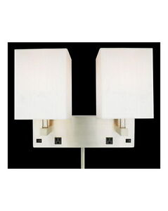 Brushed Nickel Plug In 2 Light Wall Sconce With 2 Outlets And On Off Switch