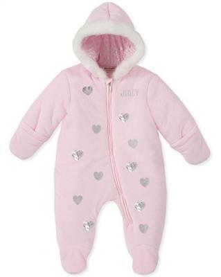 Juicy Couture Infant Girls Pink & Silver Pram/Snowsuit Size 0/3M 3/6M 6/9M $98