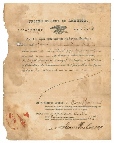 President JAMES BUCHANAN - Signed Document Abraham Lincoln Predecessor (PSA LOA)