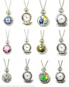 Ladies-Silver-Pocket-Watch-Necklace-Pendant-Vintage-Steampunk-Butterfly-Flower