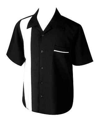 ROCK STEADY SINGLE PANEL SHIRT BLACK WHITE LOUNGE BOWLING ROCKABILLY RETRO - Lounge Bowling Shirt