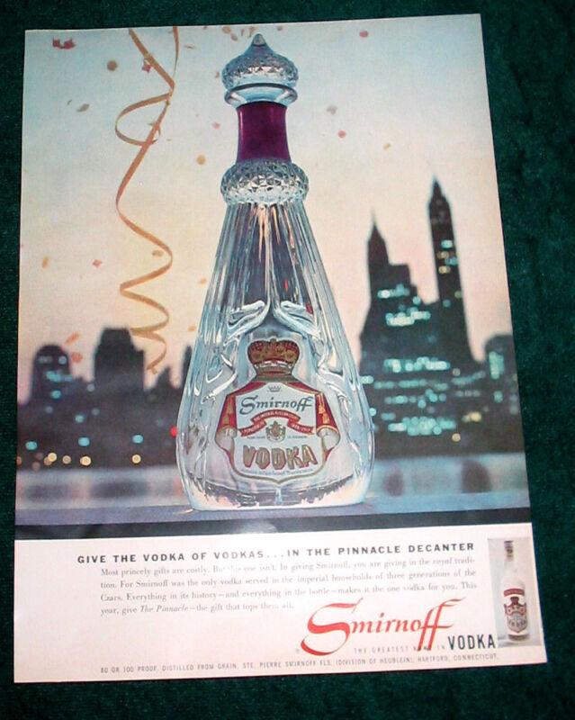 Smirnoff Vodka print ad 1957 Pinnacle Decanter 9x13
