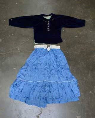 Hand made Antique Navajo Clothing - Velvet Dress with Silver Buttons and Skirt