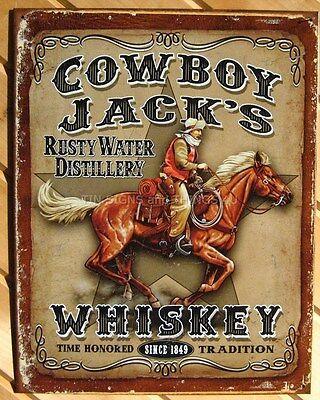 Cowboy Jack's Whiskey Tin Sign Metal Wall Beer Home Decor Bar Ranch Western 1805