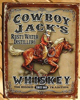 Cowboy Jack's Whiskey Tin Sign Metal Wall Beer Home Decor Bar Ranch Western 1805