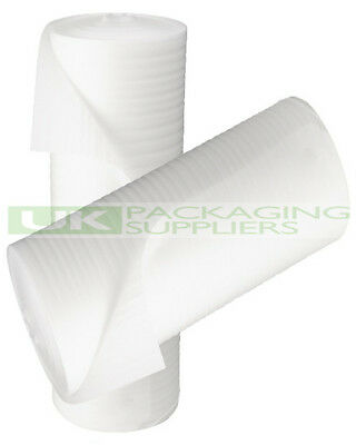 2 LARGE ROLLS OF WHITE JIFFY CUSHIONING FOAM WRAP 750mm x 200 METRES - NEW