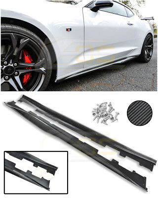 IMPERFECT For 16-Up Camaro | ZL1 Style CARBON FIBER Side Skirts Panel Extensions