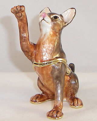 KINGSPOINT ZULU ABYSSINIAN CAT PEWTER  BEJEWELED HINGED TRINKET / JEWELRY  BOX