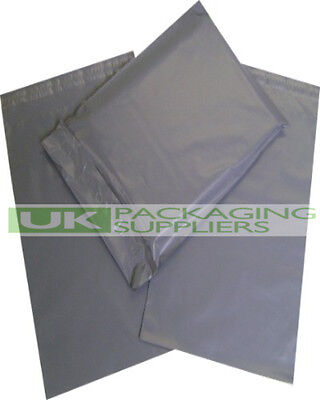 100 LARGE GREY PLASTIC MAILING BAGS 14 x 21