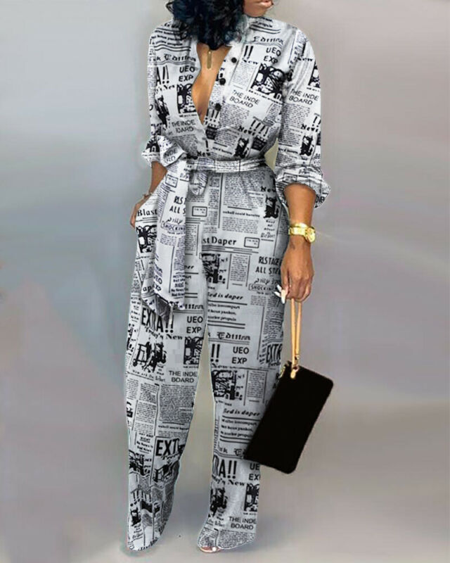 Women Casual Newspaper Print Jumpsuit Romper Belt Lace Up Loose Fit Playsuit