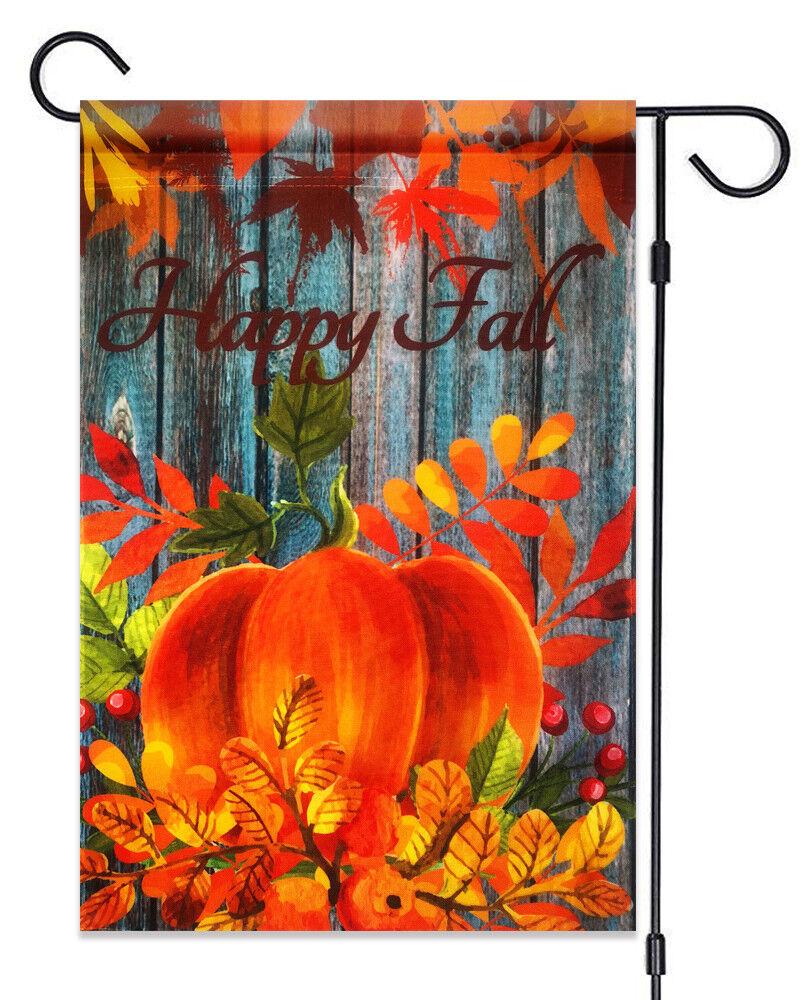 "Happy Fall Pumpkin Garden Flag 12""X18""  Fall Pumpkin & Leave"