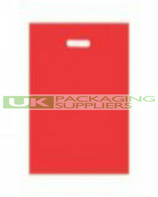 """100 STRONG VARIGAUGE RED COLOUR PLASTIC CARRIER BAGS 15 x 18 x 3"""" - NEW"""