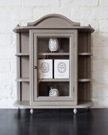Up-Cycled (Large) Display Cabinet Hand Painted in French Linen Chalk Paint