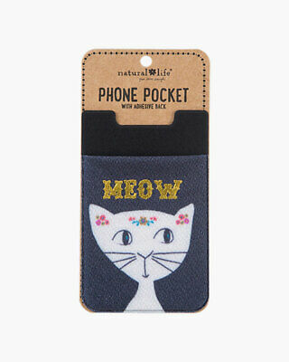 Natural Life Phone Pocket with Adhesive Back, Meow