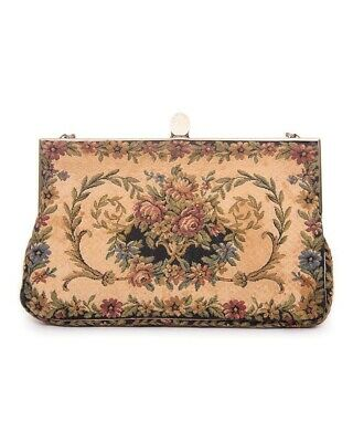 1930s Handbags and Purses Fashion Prestige Vintage Tapestry 1930s evening bag/clutch/wallet on chain floral $66.82 AT vintagedancer.com