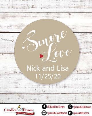 Smore Love - Round Personalized Bridal  Wedding Shower Sticker Labels (Love Wedding Shower)
