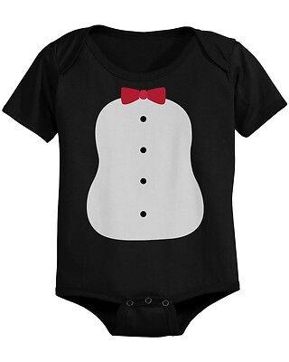 Penguin Costume Baby Bodysuit Black Infant Snap On Perfect for Halloween