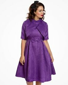 Lindy Bop 'Angelique' Purple Swing Dress and Jacket Twin Set size 12 Great for a wedding