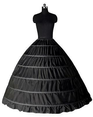 Gotik Schwarz Reifrock 6 Ringe TÜLLROCK Petticoat Unterrock Krinoline Brautkleid
