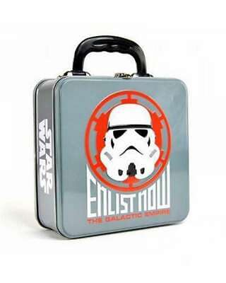 OFFICIAL STAR WARS STORMTROOPER ENLIST EMBOSSED METAL LUNCH TIN TOTE BOX NEW