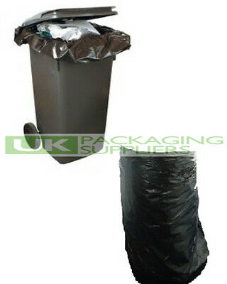 30 BLACK PLASTIC POLYTHENE WHEELIE BIN LINERS REFUSE BAGS SACKS 30x46x54