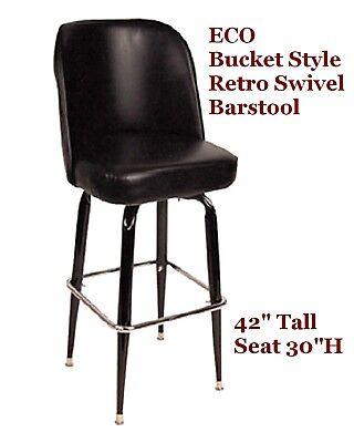 Retro Bar Stool Bucket Style 1 Doz Black Swivel New Wholesale Restaurant Seating