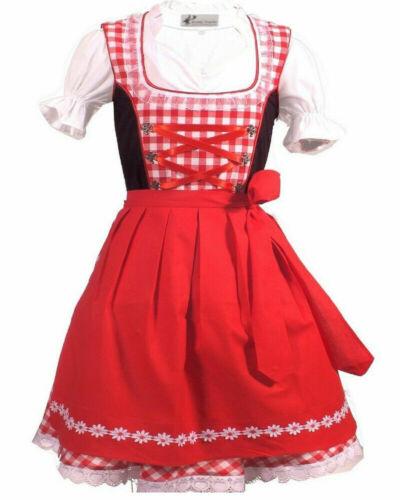 Girls,Kids,US size 10,Germany,German,Trachten,Dirndl,3-pc.Red,Black,B-Ware