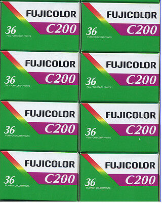 8 Roll Fuji Fujicolor C200 36 Exposure (200ASA) 35mm Color Film FRESH