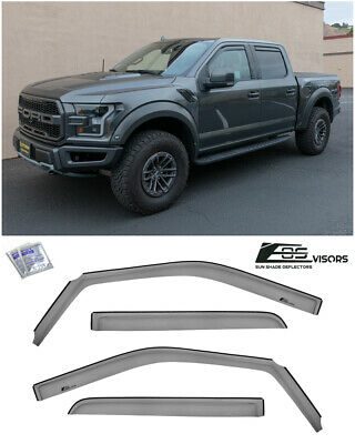EOS Visors For 15-19 Ford F-150 Crew Cab IN-CHANNEL Side Window Rain Guards
