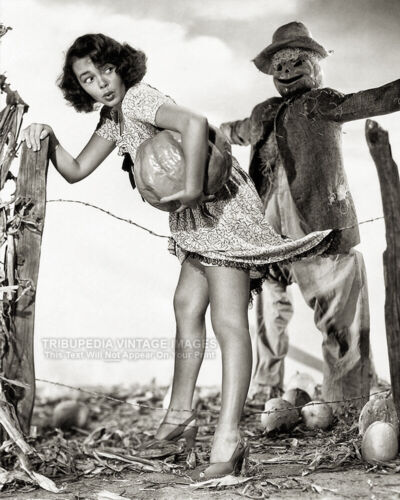 Vintage 1940s HALLOWEEN PIN-UP PHOTO * Pumpkin Thief * Scarecrow GLORIA SAUNDERS