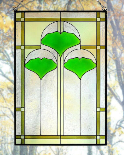 "Arts and Crafts Ginkgo Stained Glass Panel 20.5"" x 14"" - Hand Crafted in the USA"