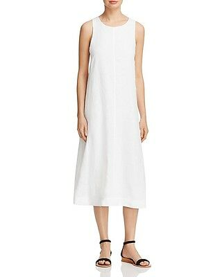 NEW EILEEN FISHER WHITE ORGANIC HANDKERCHIEF LINEN ROUND NECK F/L DRESS  M $338