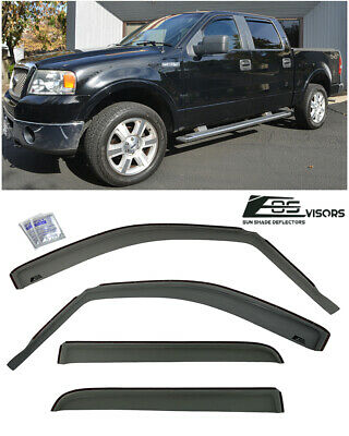 For 04-08 Ford F150 Crew Cab | SMOKE TINTED Side Window Vents Sun Shade Guards