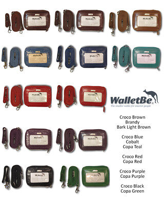 (WALLETBE WOMEN'S LEATHER ACCORDION ZIP AROUND WALLET WRISTLET ID COIN PURSE)