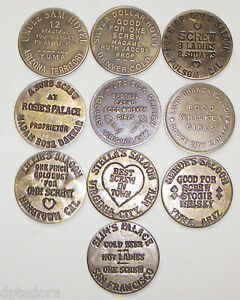 10-SOLID-BRASS-BROTHEL-CAT-HOUSE-TOKENS-LOT-1