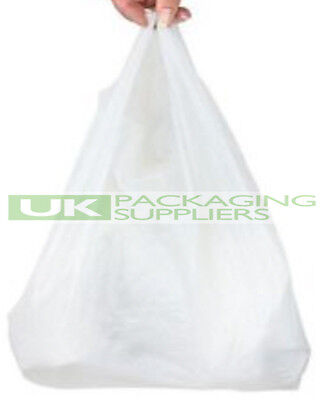 100 x WHITE PLASTIC POLYTHENE VEST STYLE CARRIER BAGS 11 x 17 x 21